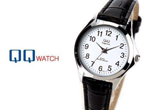 Reloj Para Mujer Original Q&q Cuero Negro Bisel Plateado 0