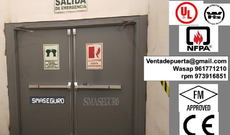 puerta corta feugo doble hoja certificado UL WTH 0