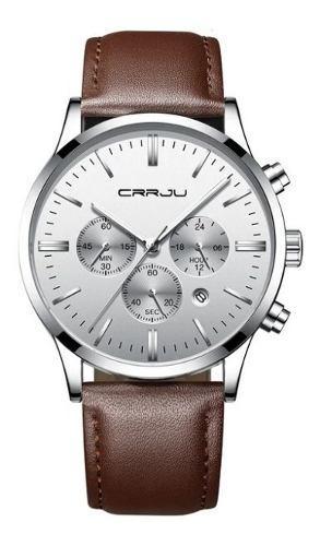 Reloj Casual Negocios Crrju Hombre Cuero Moda 2020 0