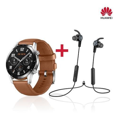 Huawei Watch Gt2 Correa De Cuero Marron+ Audifonos Am61 0