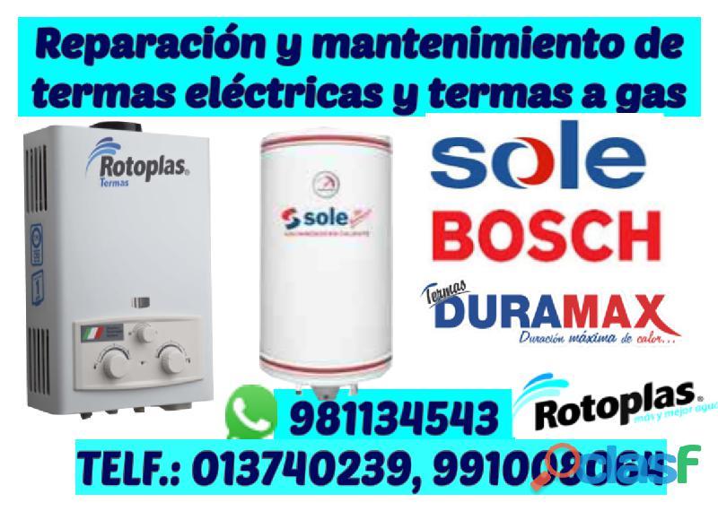 Servicio tecnico de termas sole, brasec; khor; junker, aquamaxx
