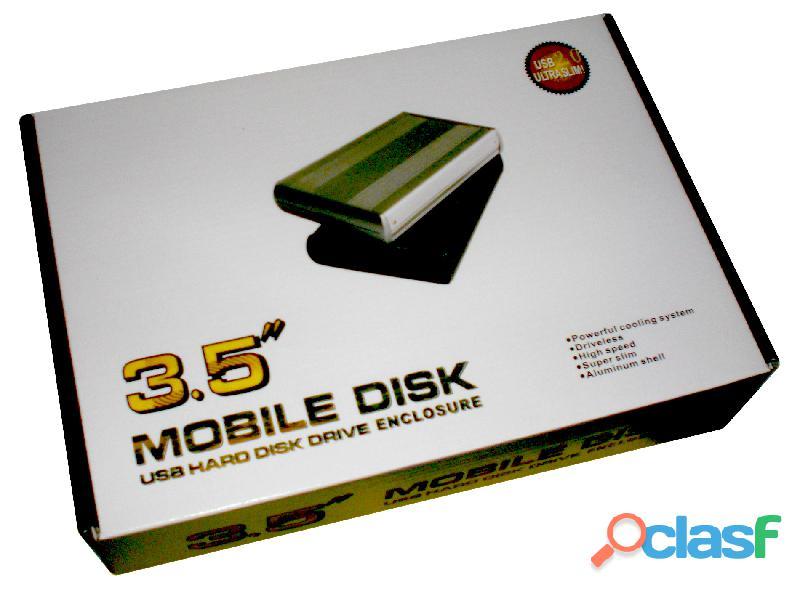 """case USB 2.0 para disco duro SATA 3.5"""" enclosure externo aluminio"""