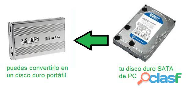 """case USB 2.0 para disco duro SATA 3.5"""" enclosure externo aluminio 1"""