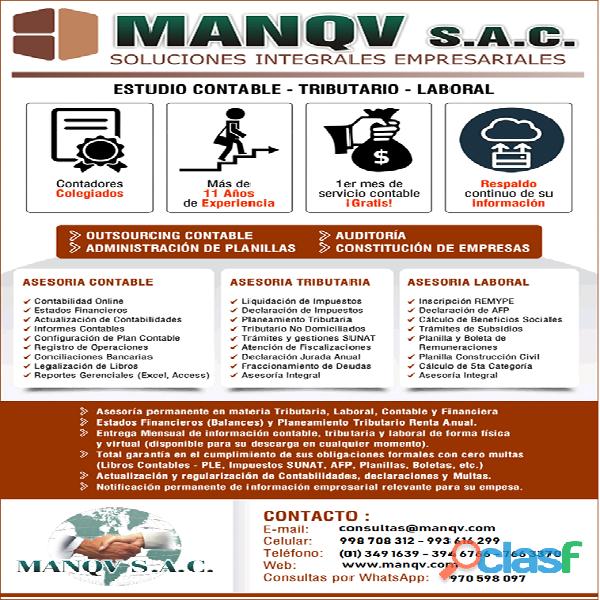 Contador público colegiado manqv s.a.c. – asesoría & consultoría integral de empresas