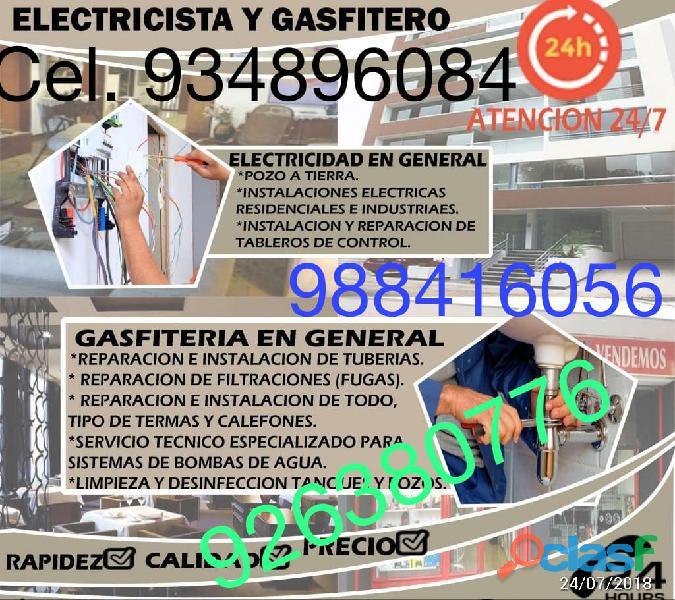 Servicio de gasfitería integral a domicilio electricidad pintura gasfitero y más. 934896084