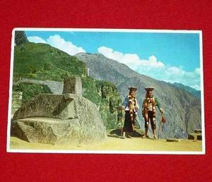 Antigua postal intihuatana solar machu picchu trajes