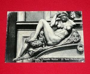 Postal Antigua Escultura La Noche Miguel Angel Florencia