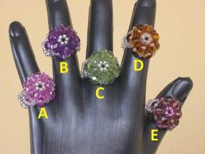 Joyeria joyas bisuteria anillos de nylon y piedras acrilicas
