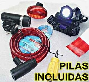 Pack 3 luces led bicicleta cable y desarmador pilas incluida