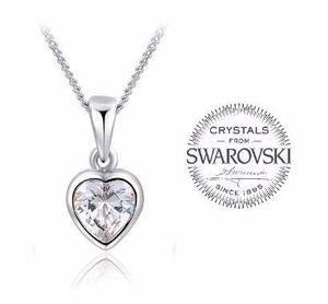 2063381ede95 Collar corazòn cristal swarovski es como oro blanco + envio