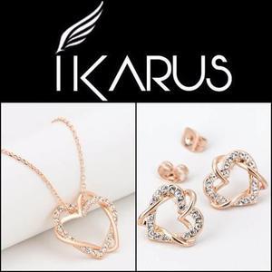 81b7eadd0067 Collar y aretes amor corazón cristales austriacos oro 18k