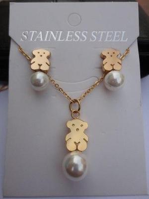 247dc1b7c8f2 Joyas juego collar cadena aretes acero enchapado oro oso