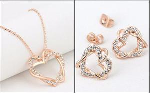 62abf9e63b26 Oferta! aretes y collar corazón oro 18k cristales suizo en Lima ...