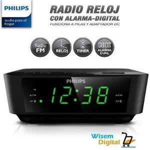 Radio reloj despertador philips fm, doble alarma *delivery
