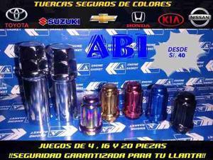 Tuercas Seguros Colores Rojo Azul Dorado Antirrobo De Llanta