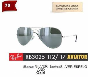 Lentes rayban 3025 plata espejo aviador- en promoción