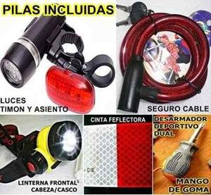 3 luces led bicicleta + cable + desarmador 9 pilas incluidas