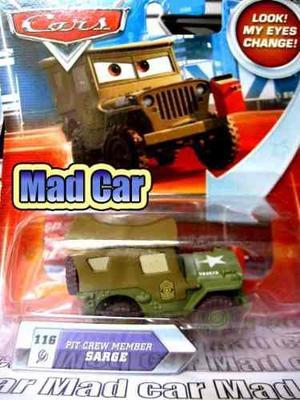 Mc mad car auto pit crew member sarge cars disney pixar ojos