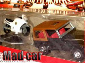Mc mad car majorette jeep remolque moto policia 1/32 police