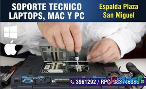 Soporte tecnico laptop, mac y pcs en plaza san miguel