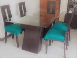 Mesas de madera y vidrio mesa solida vidrio superior for Mesas de comedor de vidrio