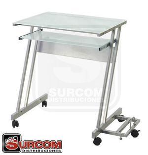 Mesa de vidrio de pc - vidrio apavonado de 5mm - base metal