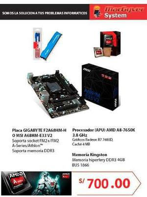 AMD A8 7650K/RAM 4G/PLACA MSI O GIGABYTE IDEAL PARA DOTA2 segunda mano  Lima (Lima)