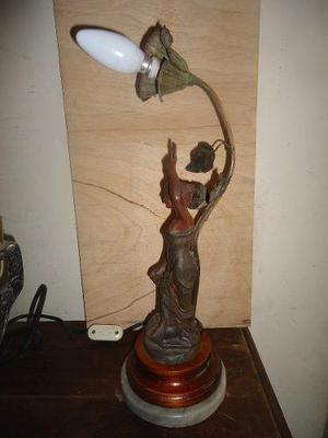 Vint.retro Escultura Lámpara Antigua Peltre A. Rucho