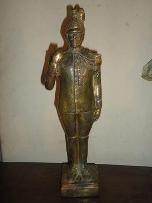 Vint.retro escultura soldado, guardia bronce antiguo