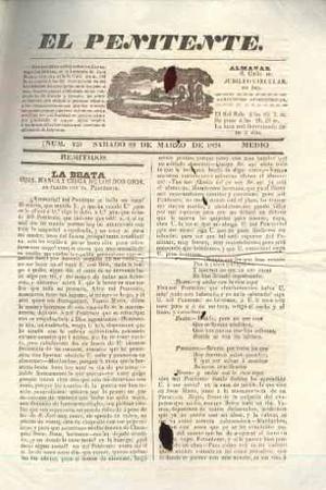 Antiguo periódico del peru el penitente, 29 de marzo de