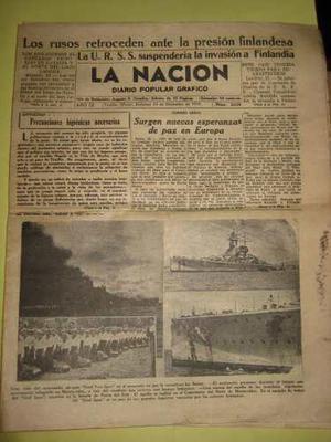 Periodico la nacion trujillo 1939 segunda guerra 2 ejemplare