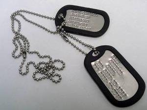 Placas de identificación placas militares (dogtags)