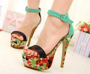 Zapatos mujer sandalias plataforma tacones flores pedido!