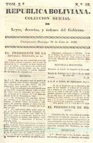 Periodico) republica boliviana. colección oficial de