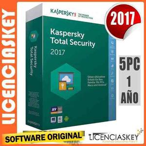 Kaspersky total security 2017 licencia original 5 equipos