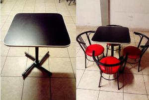 Juego De Mesas Y Sillas Para Bar Restaurante Snack 4 Sillas En
