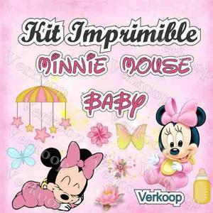 Kit Imprimible Minnie Mouse Bebe Invitaciones Tarjetas Frame