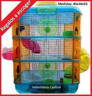 Jaula hamster sirios y rusos. 3 pisos. acrílica. equipada