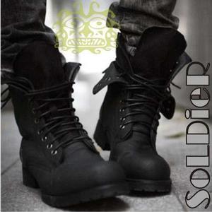 Botas militares hombre zapatos, calzado cuero vestir