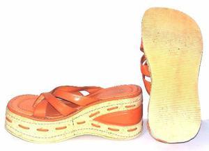 Sandalia naranja plataforma mujer moda navidad regalo