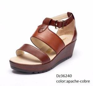 Sandalias de mujer plataforma 5,puro cuero moda exclusiva