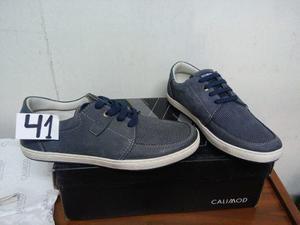 Vendo zapato casual calimod nuevo t41 azul original en caja