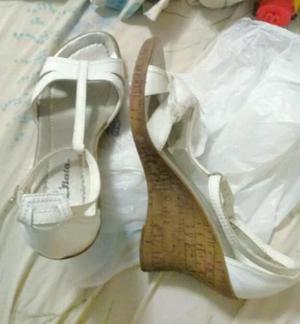 Zapato bata cuña mujer cuero blanco nuevo importado