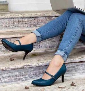 Zapatos mujer, taco 7 talla 37 puro cuero moda exclusiva