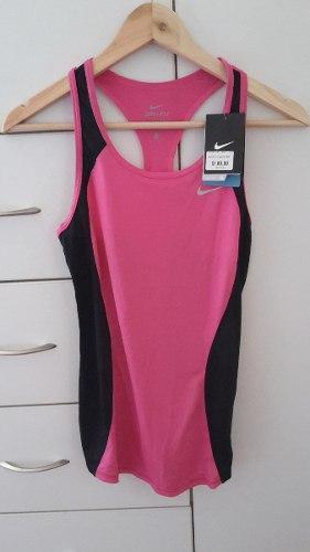 free shipping d4d1a d6b2a Nike racer tank rosado negro camiseta ejercicio dri fit xs