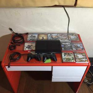 Playstation 3 super slim con 2 controles y 10 juegos