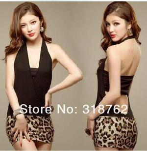 Mini vestido de noche casual discoteca leoparda fiesta