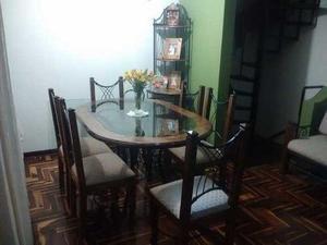 Muebles juego de sala y comedor estilo rustico madera/acero