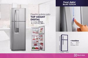 Refrigerador 386 litros dw42x nueva!! electrolux!! plateado