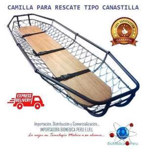 Camilla canastilla con tabla rigida de madera para rescate